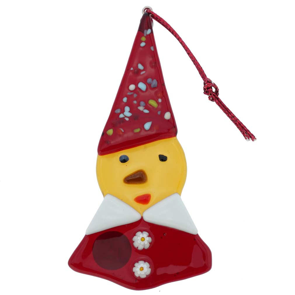 Murano Glass Elf Christmas Ornament - Yellow