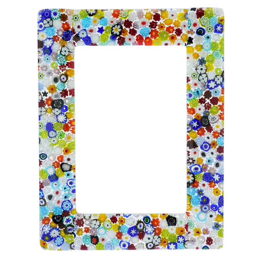 Murano Glass Millefiori Photo Frame Multicolor 4X6 Inch