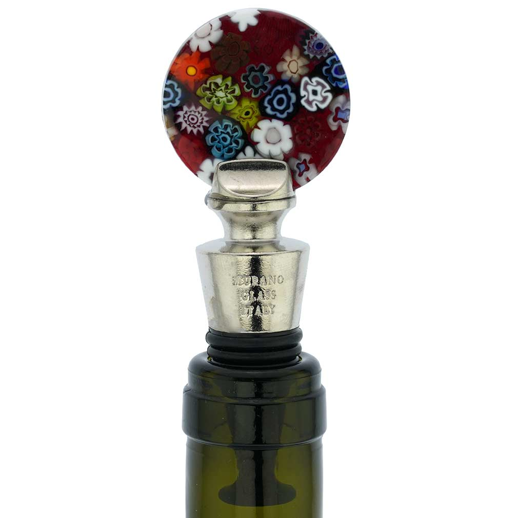 Murano Glass Millefiori Round Bottle Stopper