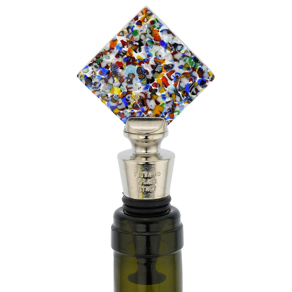 Murano Glass Multicolor Diamond Bottle Stopper