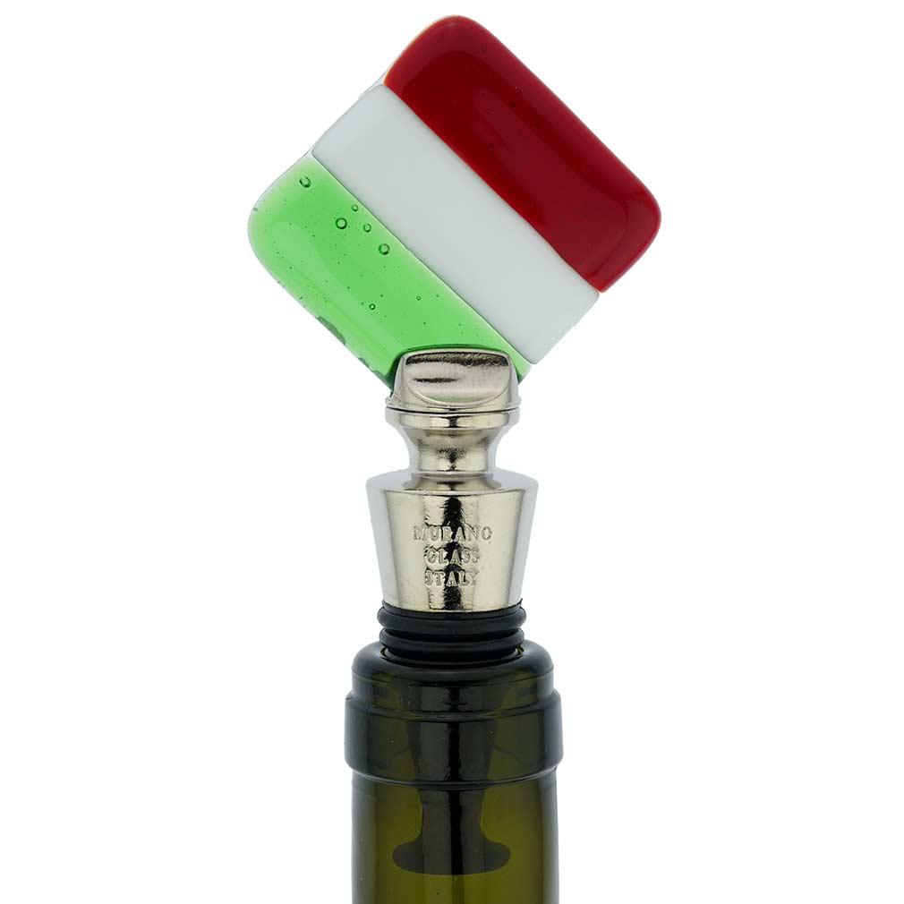 Murano Glass Bottle Stopper - Italian Flag