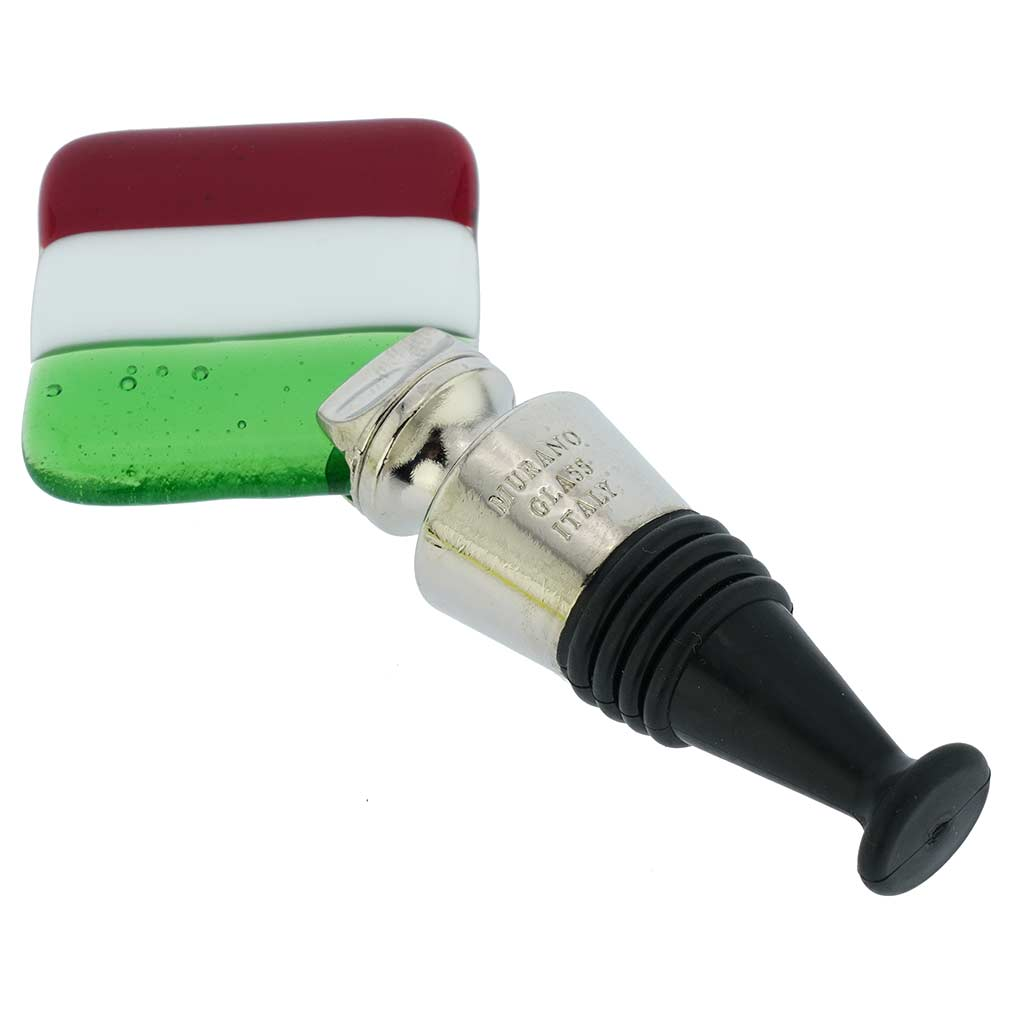 Murano Glass Bottle Stopper - Italian Flag