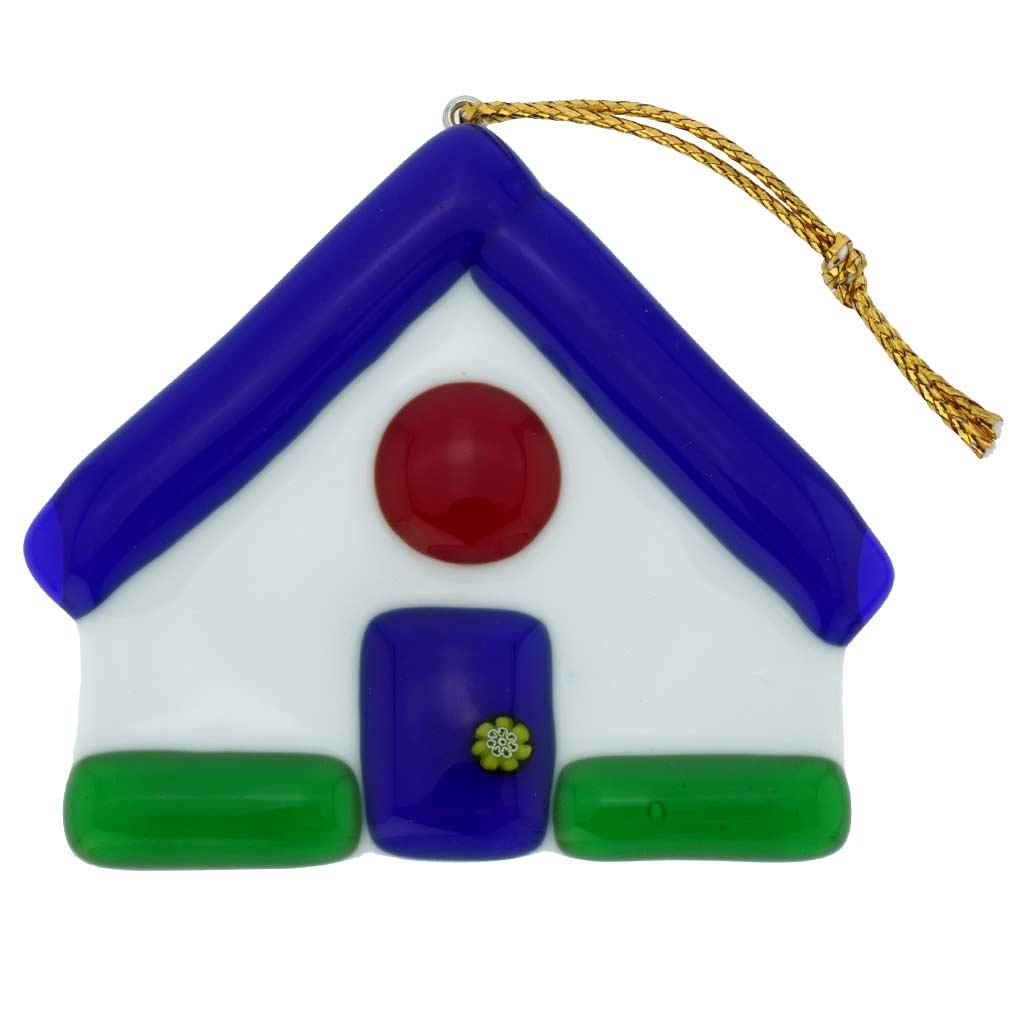 Murano Glass House Christmas Ornament - Blue