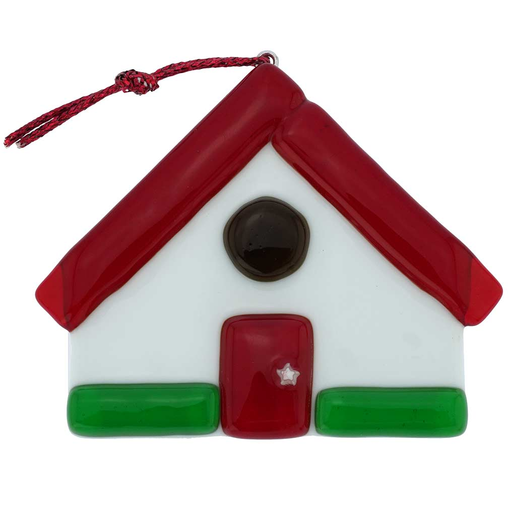 Murano Glass House Christmas Ornament - Red
