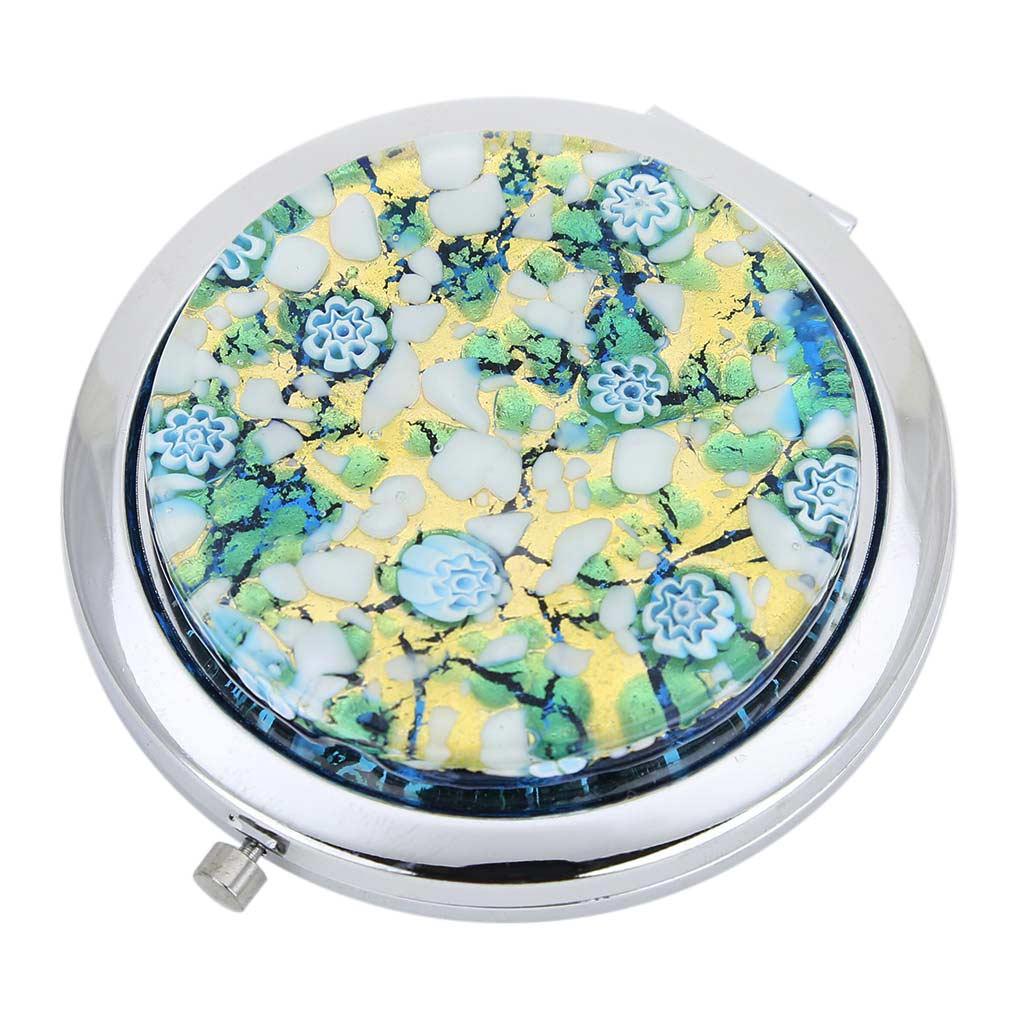 Murano Millefiori Folding Compact Mirror - Aqua Gold