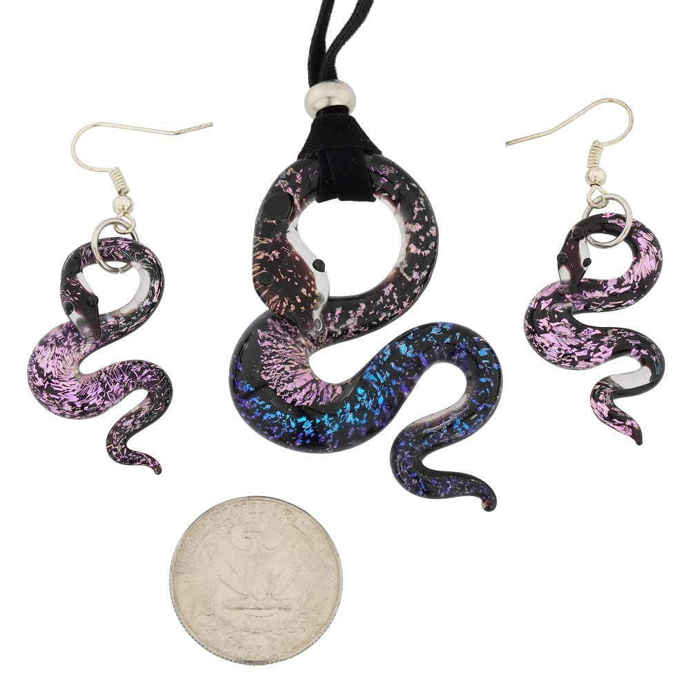 Murano Glasss Snake Necklace and Earrings Set
