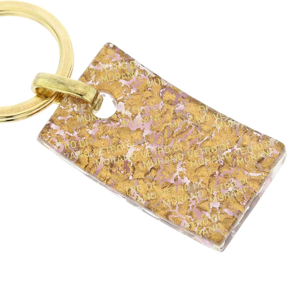 Murano Colors Rectangular Keychain - Purple Gold