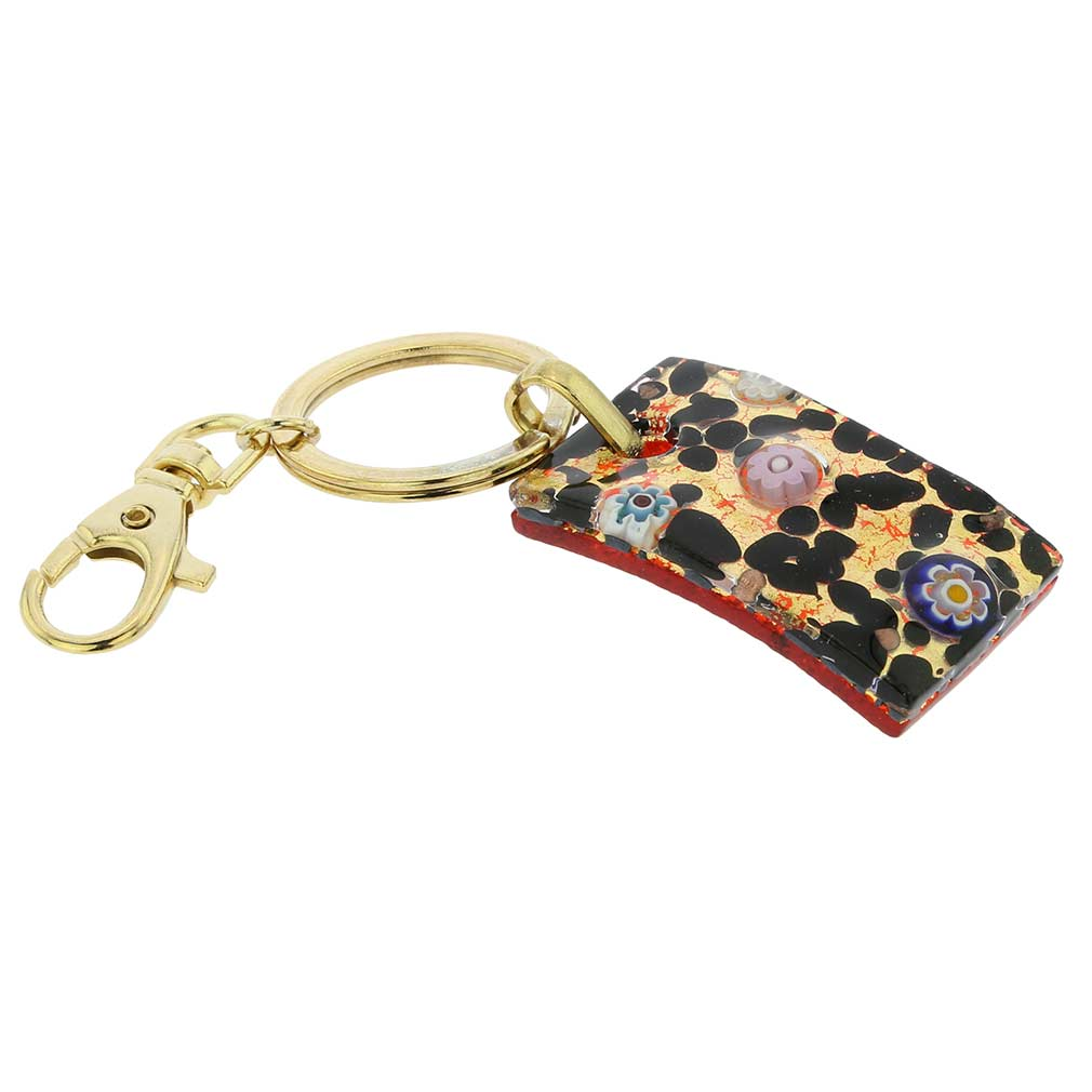 Murano Colors Rectangular Keychain - Gold Millefiori