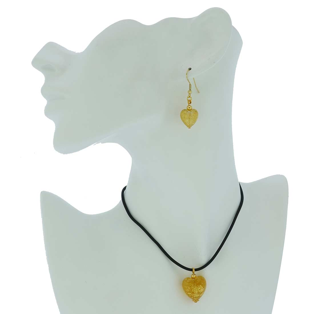 Murano Glass Puffed Heart Necklace and Earrings Set - Sparkling Gold