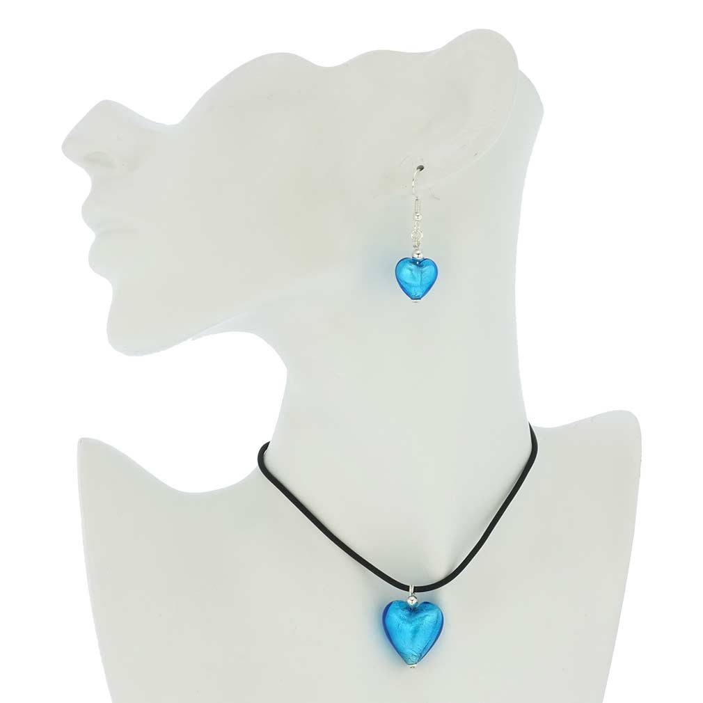 Venetian Reflections Puffed Heart Necklace and Earrings Set - Light Blue