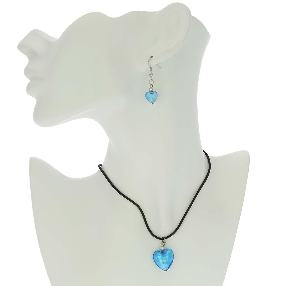 Venetian Reflections Puffed Heart Jewelry Set - Light Blue