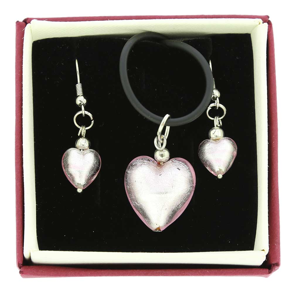 Venetian Reflections Puffed Heart Jewelry Set - Light Pink