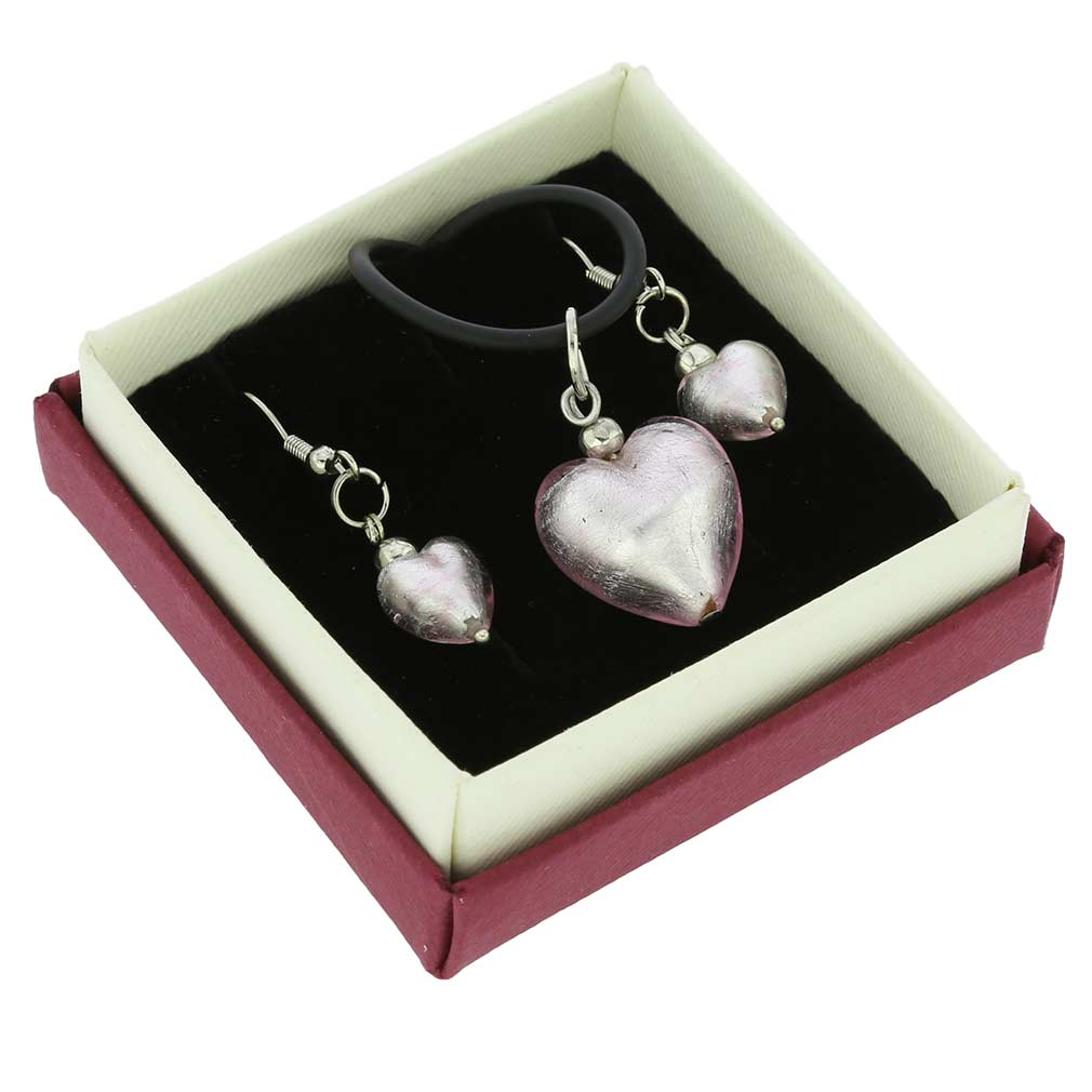 Venetian Reflections Puffed Heart Necklace and Earrings Set - Light Pink