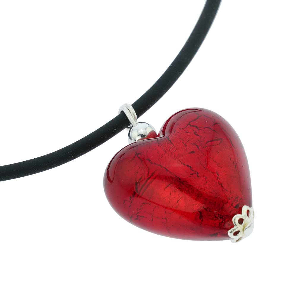 Venetian Reflections Puffed Heart Necklace and Earrings Set - Red
