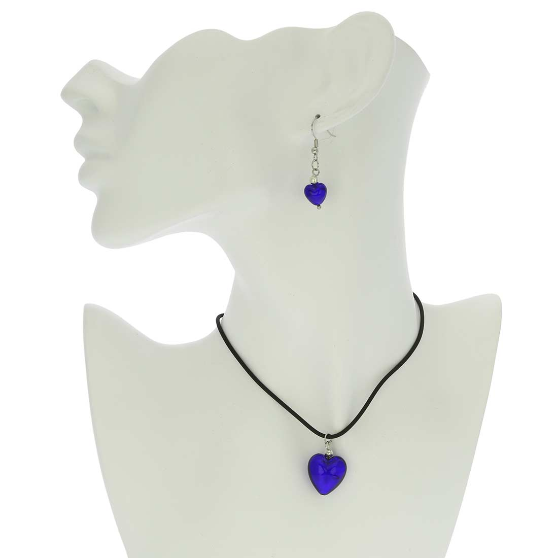 Venetian Reflections Puffed Heart Necklace and Earrings Set - Blue