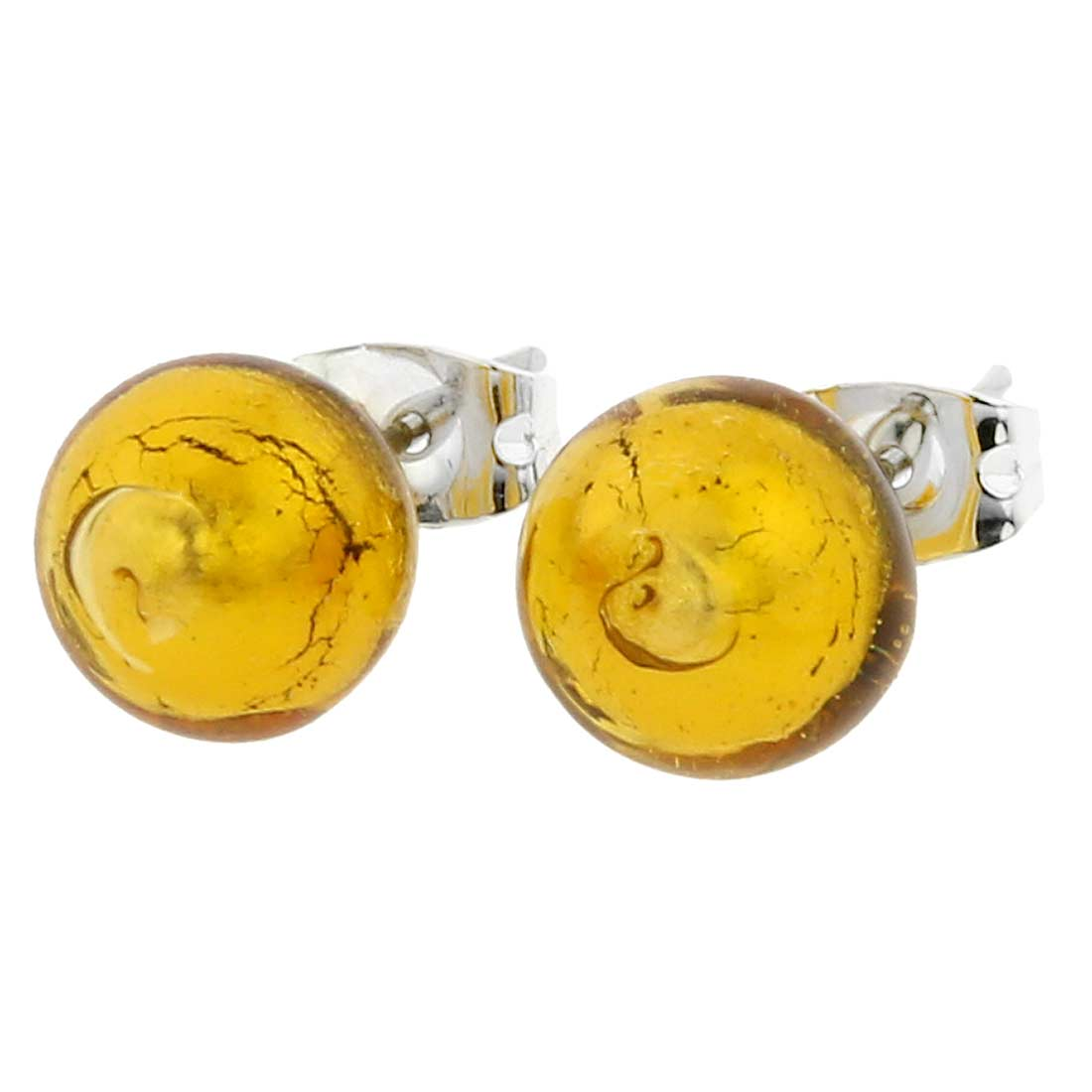 Murano Ball Stud Earrings - Amber