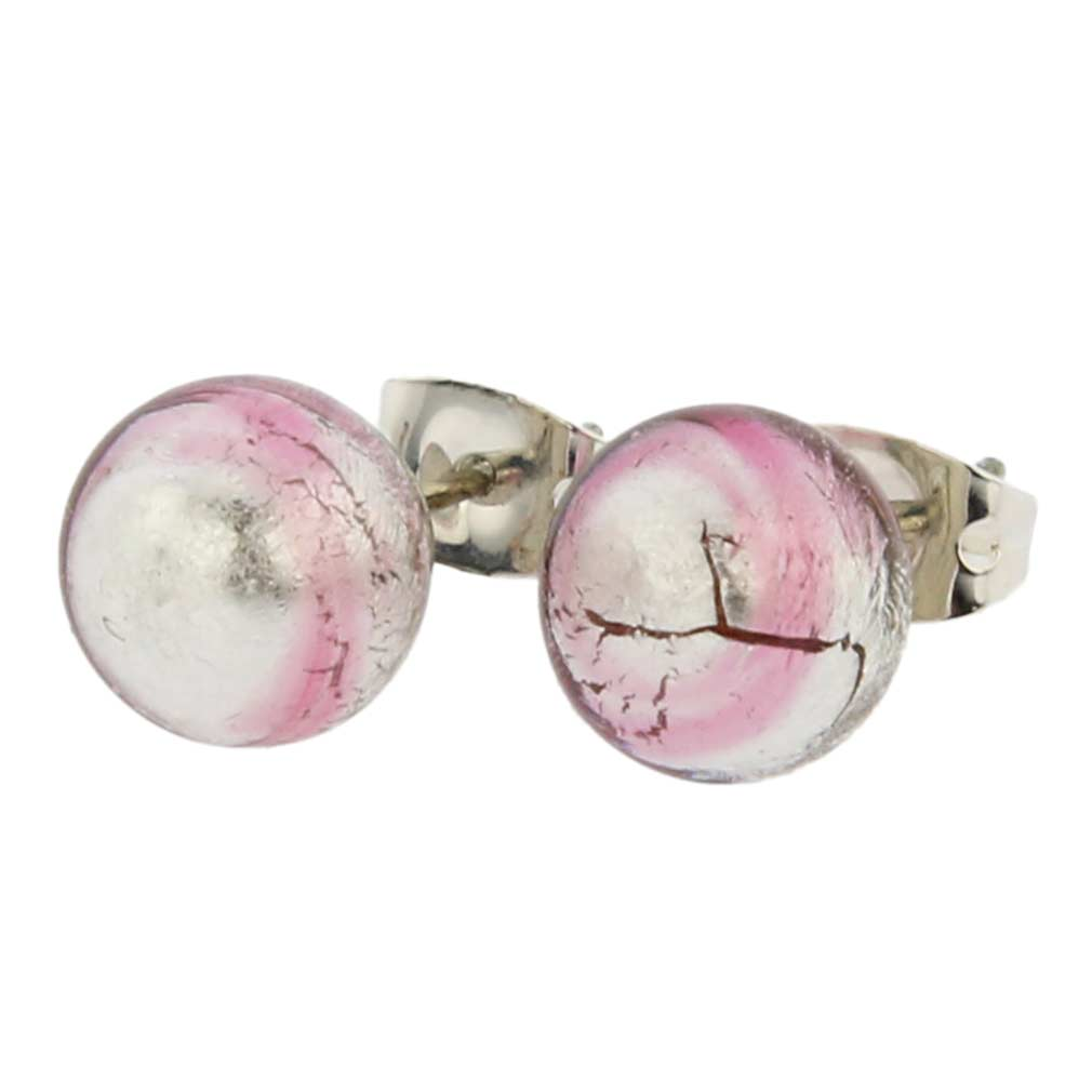 Murano Ball Stud Earrings - Pink Swirl
