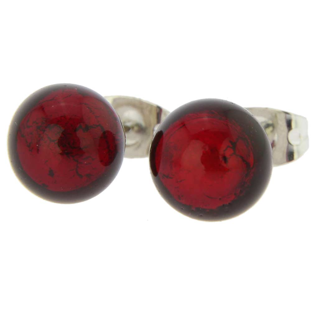 Murano Ball Stud Earrings - Ruby Red