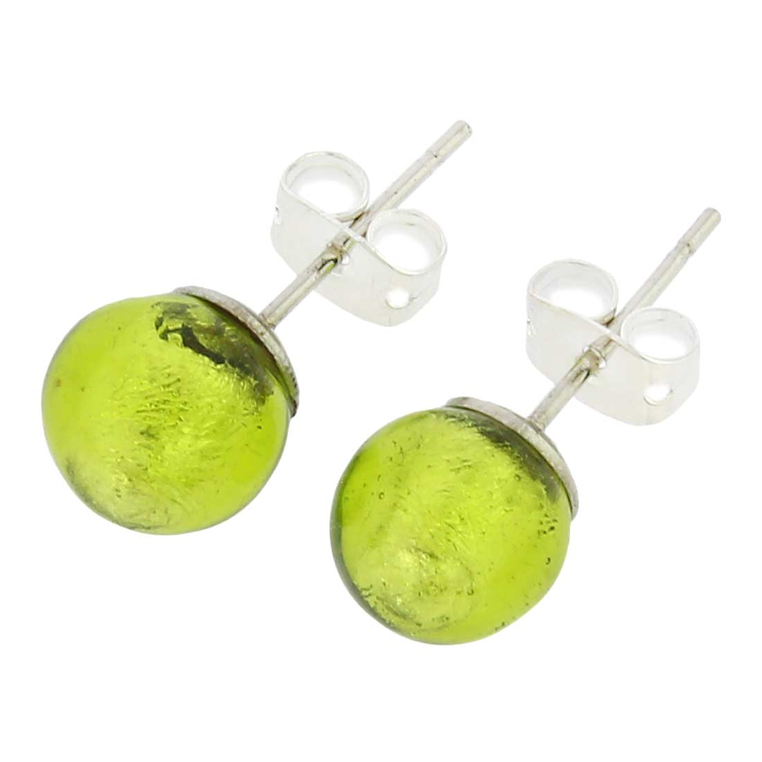 Murano Ball Stud Earrings - Lime Green