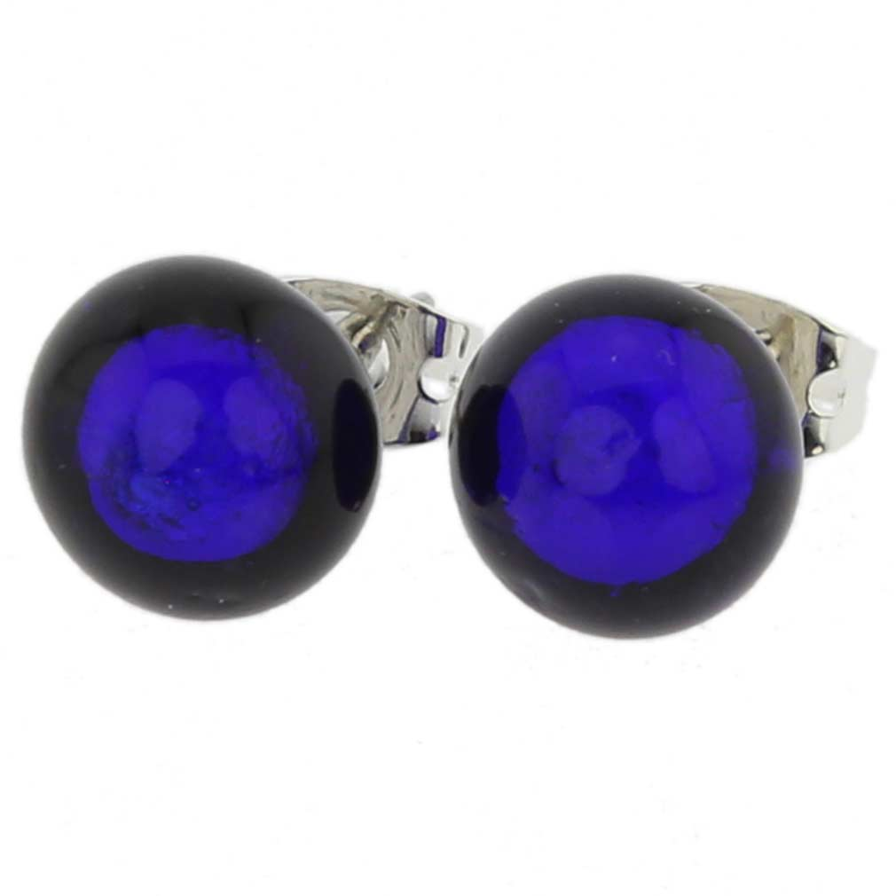 Murano Ball Stud Earrings - Blue