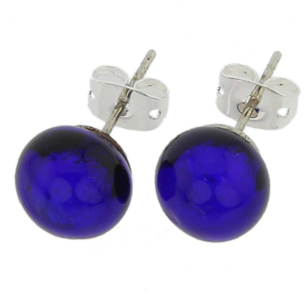 Murano Ball Stud Earrings - Blue