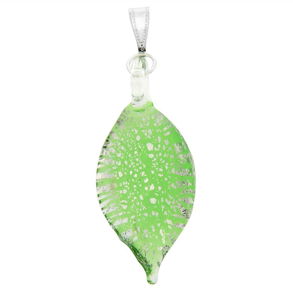 Silver Rain Murano Leaf Pendant - Green