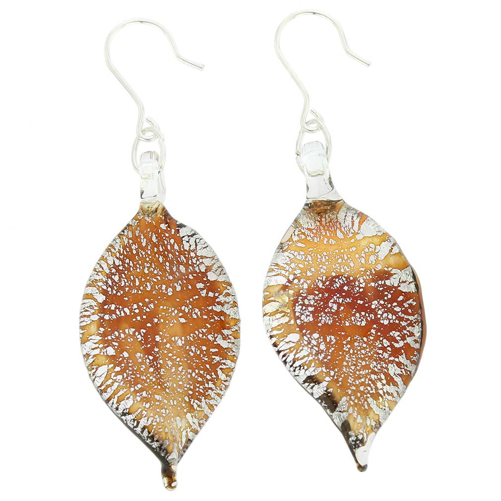 Silver Rain Murano Leaf Earrings - Wine