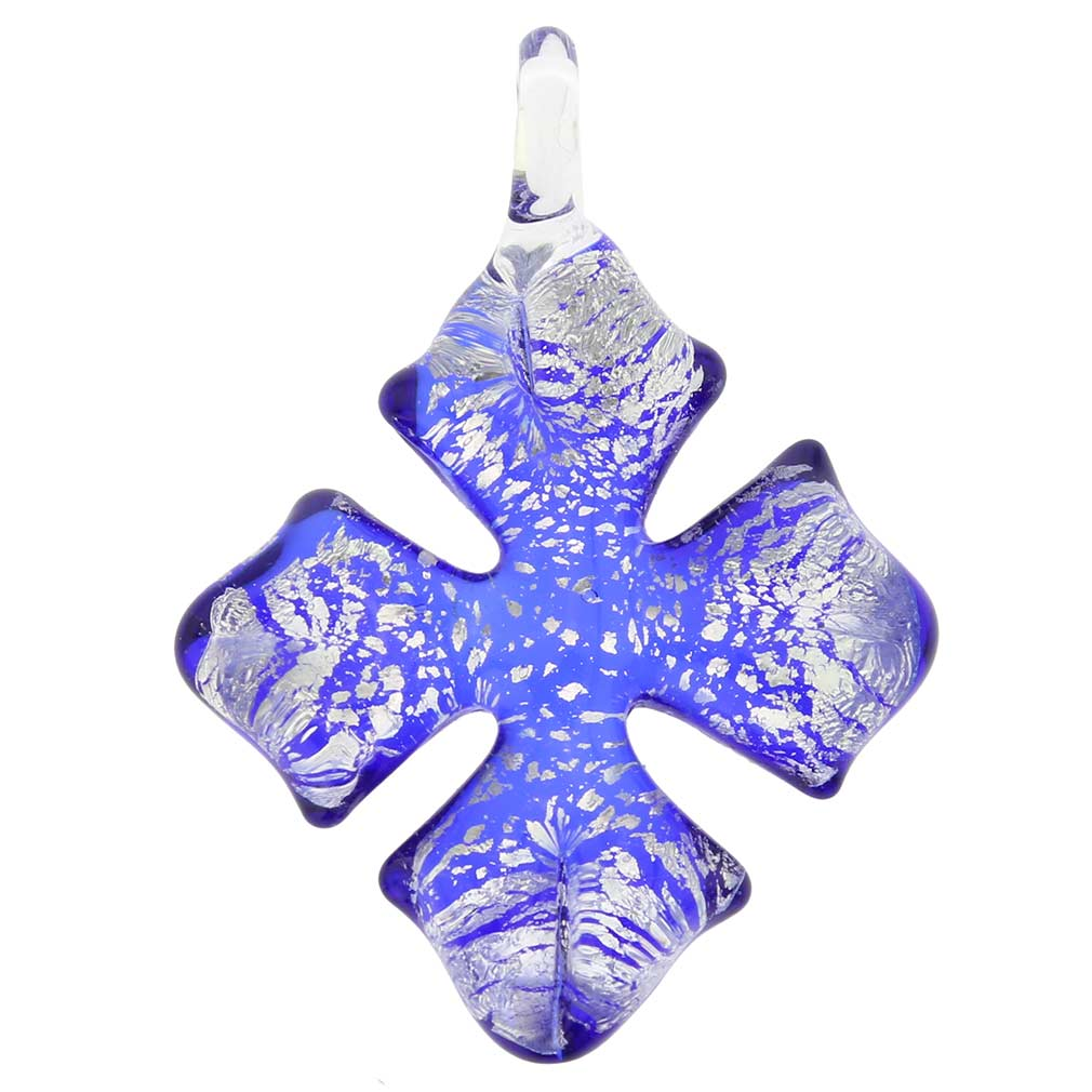 Silver Rain Cross Pendant - Blue