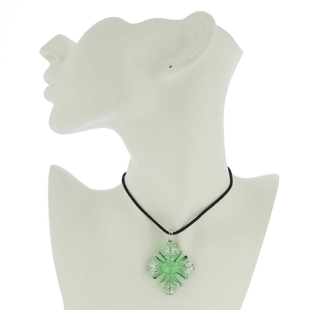 Silver Rain Cross Pendant - Green