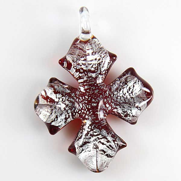 Silver Rain Cross pendant - Red