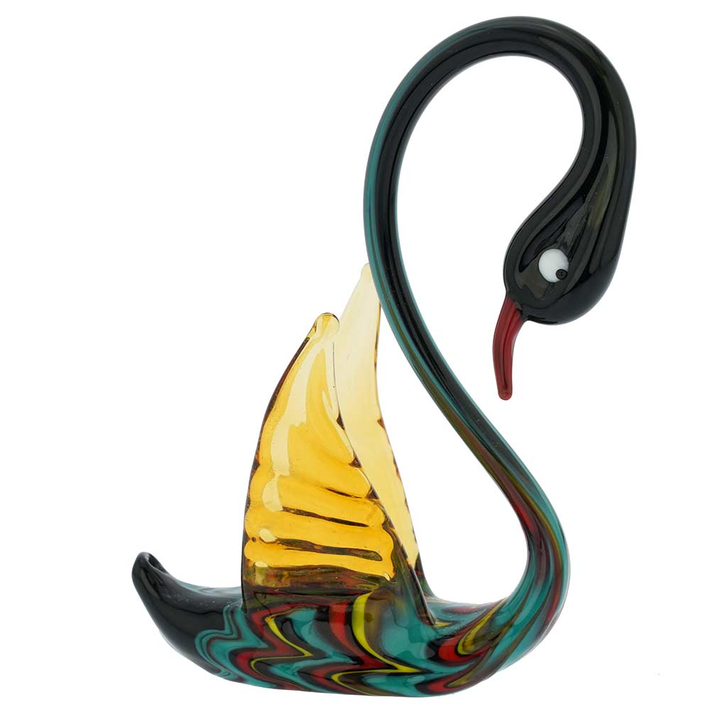 Festooned Glass Swan