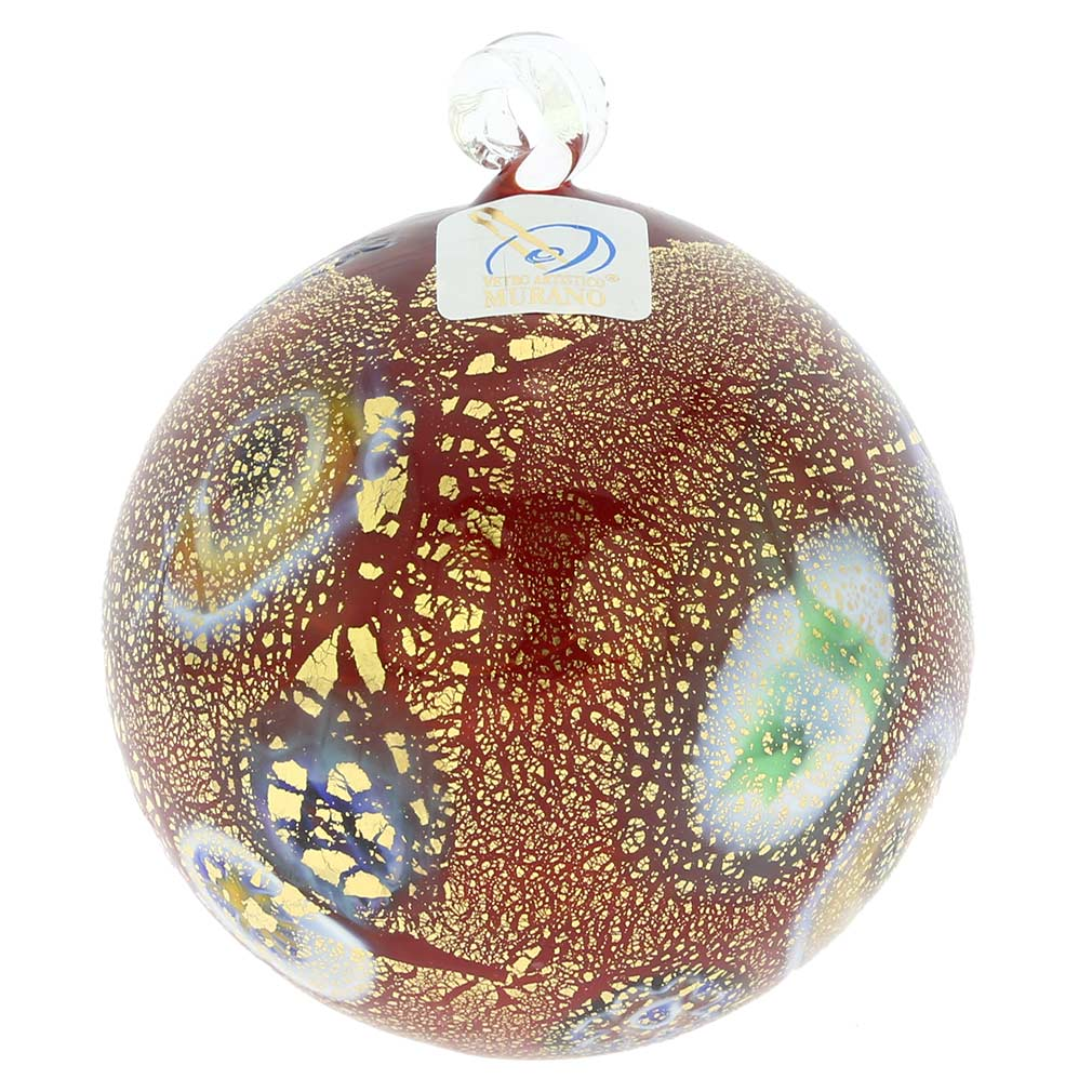 Murano Glass Medium Millefiori Christmas Ornament - Red Gold