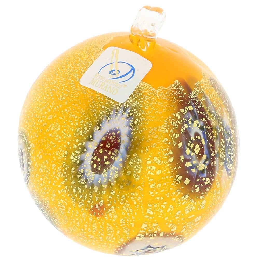 Murano Glass Medium Millefiori Christmas Ornament - Yellow Gold