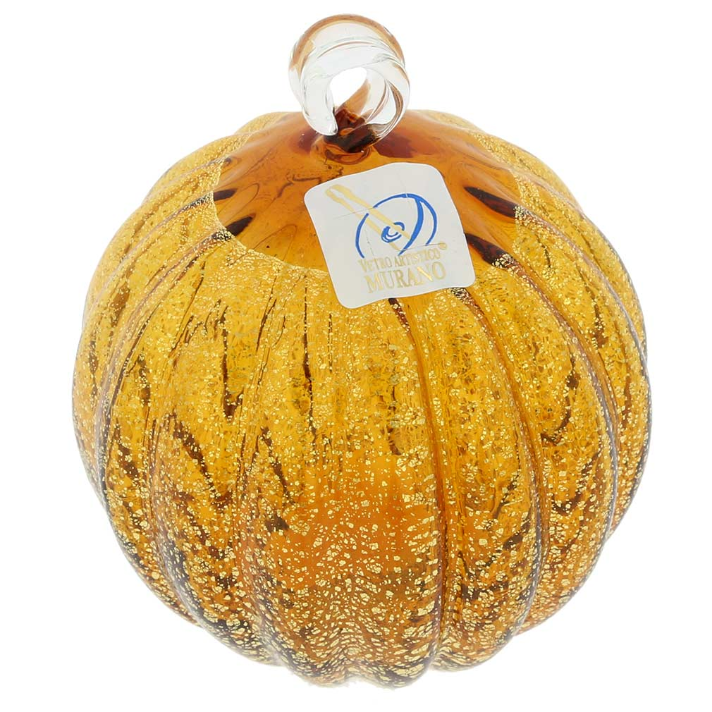 Murano Glass Medium Christmas Ornament - Golden Brown