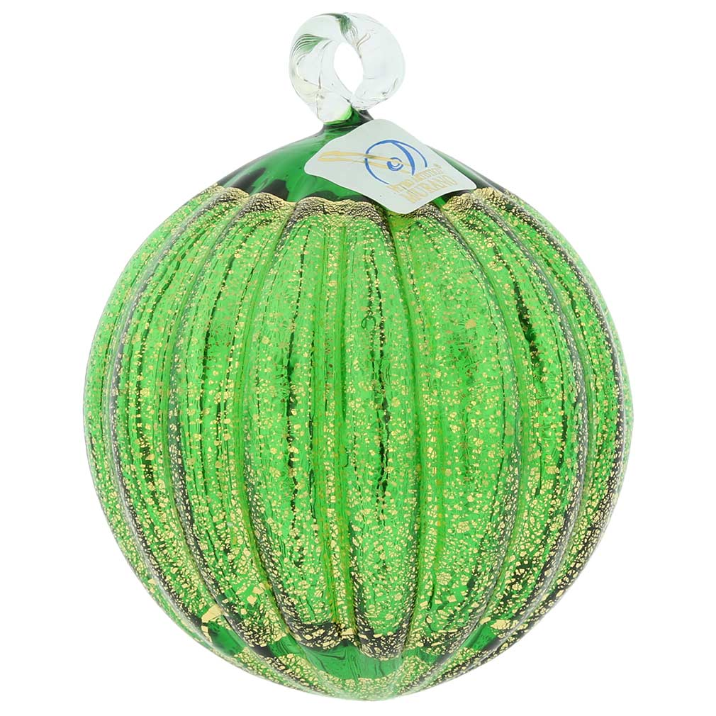 Murano Glass Medium Christmas Ornament - Emerald Green