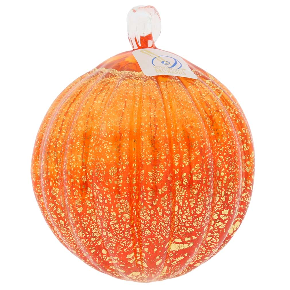 Murano Glass Medium Christmas Ornament - Orange