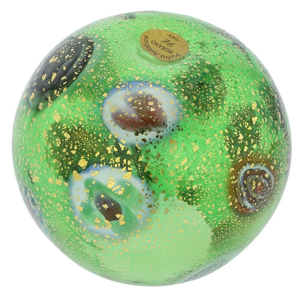 Murano Glass Millefiori Votive Candle Holder - Green