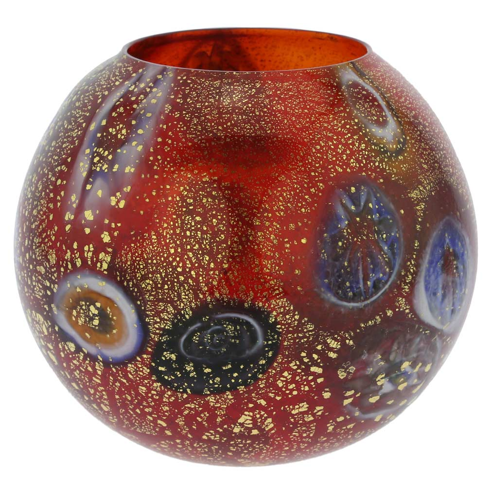 Murano Glass Millefiori Votive Candle Holder - Red
