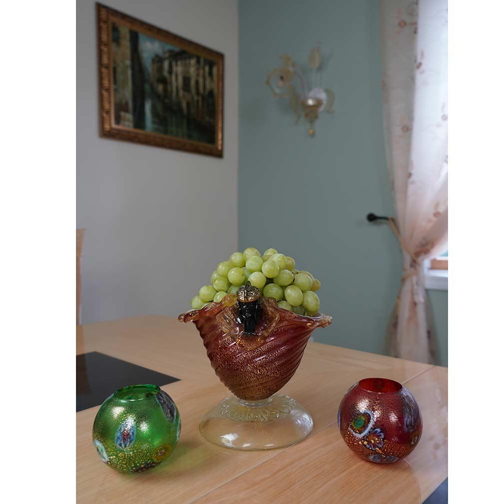 Murano Glass Millefiori Votive Candle Holder - Red