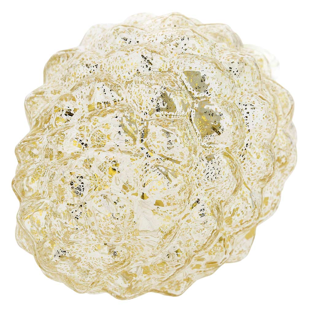 Murano Glass Pine Cone Christmas Ornament - Clear