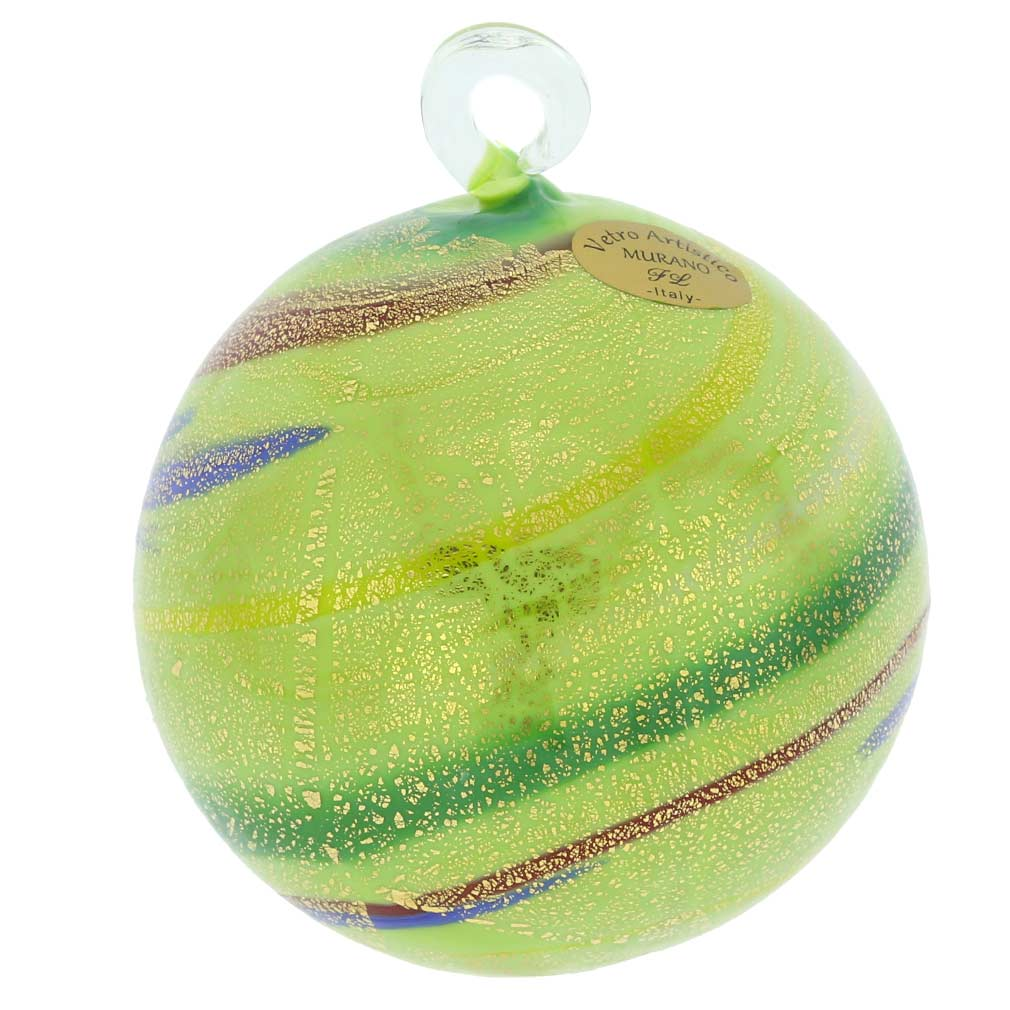 Murano Glass Medium Christmas Ornament - Green Swirls
