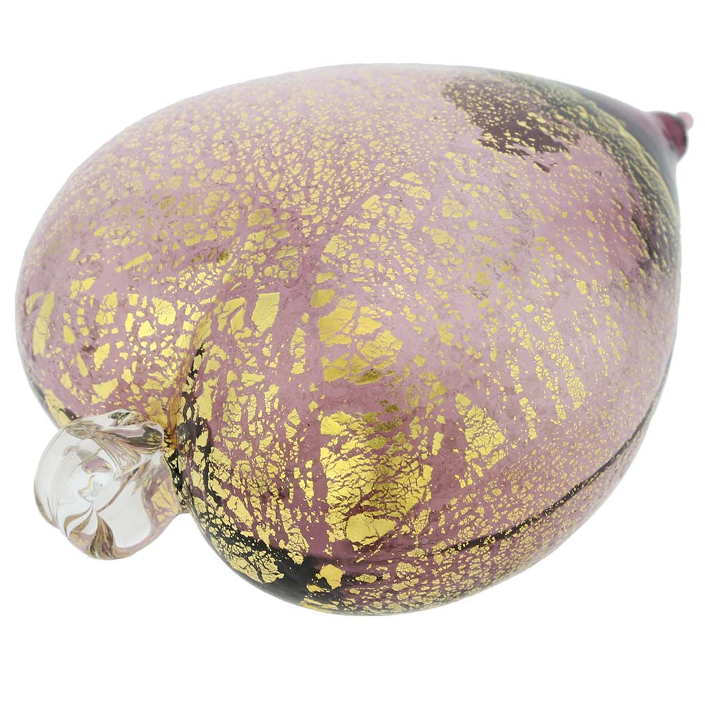 Murano Glass Heart Christmas Ornament - Purple Gold