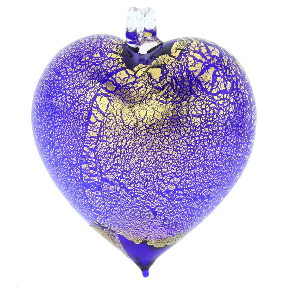 Murano Glass Heart Christmas Ornament - Blue Gold