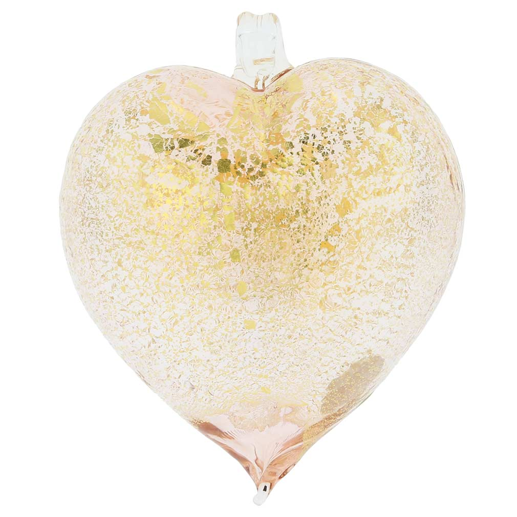 Murano Glass Heart Christmas Ornament - Pink Gold