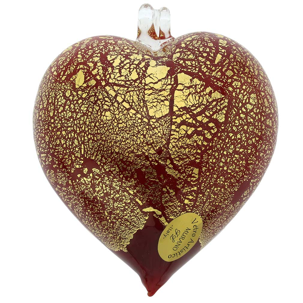 Murano Glass Heart Christmas Ornament - Red Gold