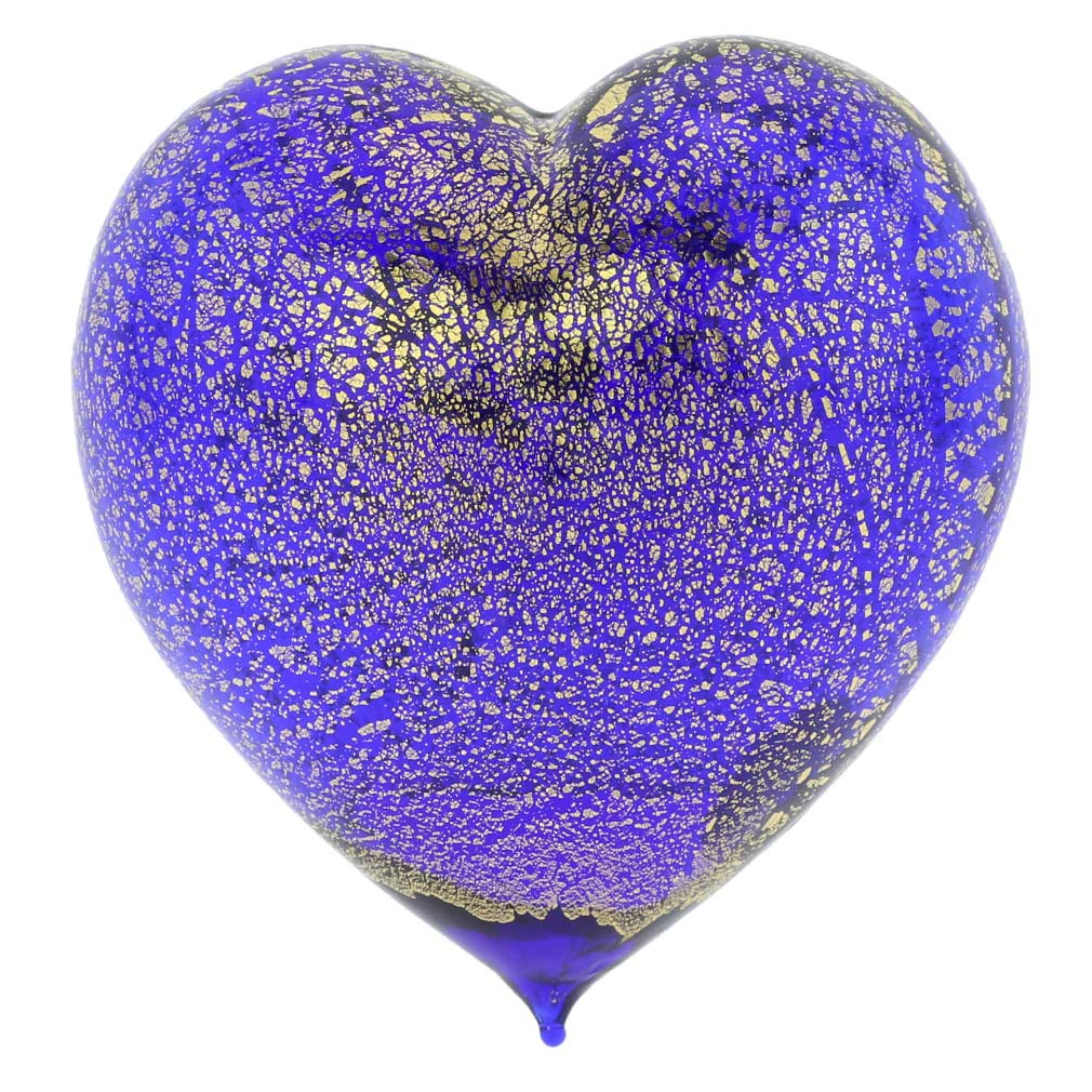 Murano Glass Blue Gold Heart