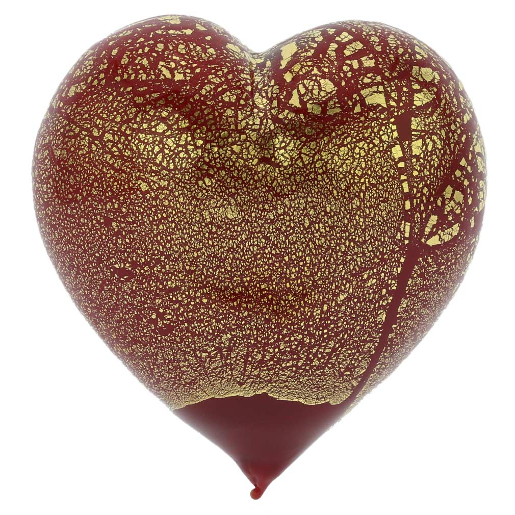 Murano Glass Red Gold Heart