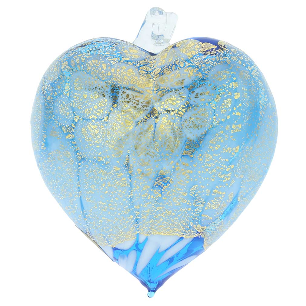 Murano Glass Spotted Heart Christmas Ornament - Aqua Gold