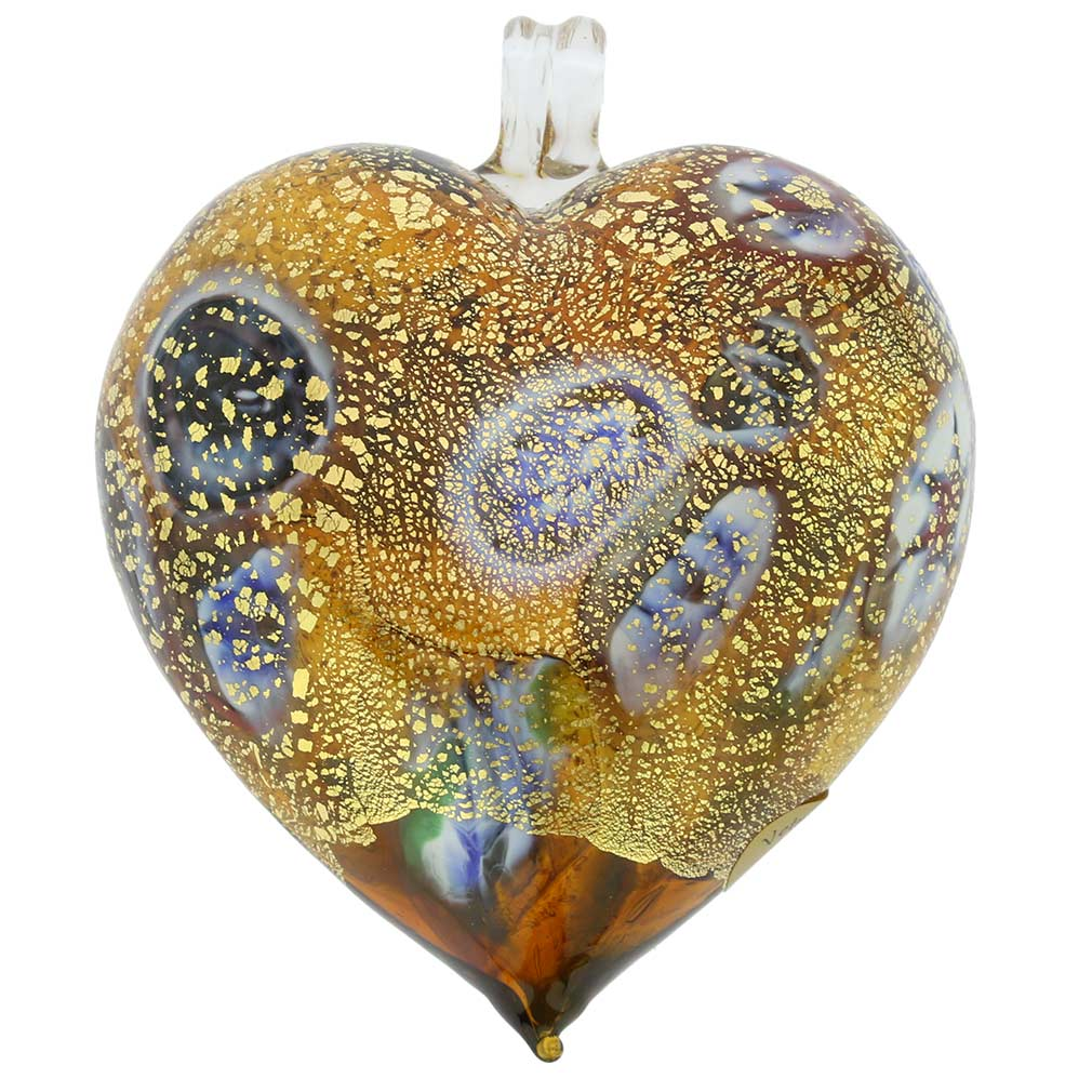 Murano Glass Heart Millefiori Christmas Ornament - Topaz Gold