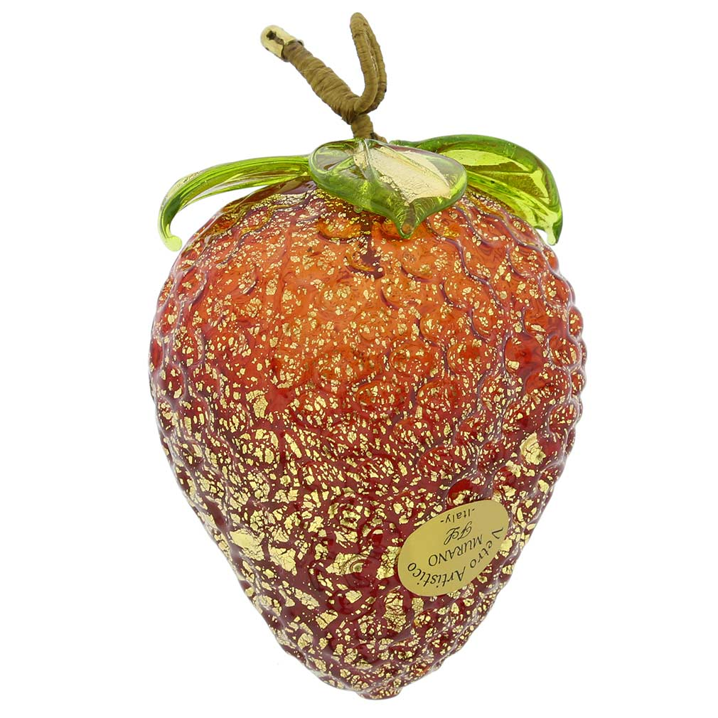 Murano Glass Strawberry Hanging Figurine